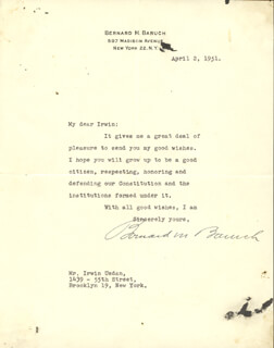 Autographs: BERNARD M. BARUCH - TYPED LETTER SIGNED 04/02/1951