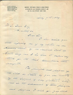 Autographs: PRESIDENT GROVER CLEVELAND - AUTOGRAPH LETTER SIGNED 05/07/1889