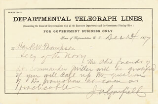 PRESIDENT JAMES A. GARFIELD - AUTOGRAPH TELEGRAM SIGNED 12/14/1877