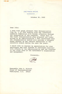 PRESIDENT RICHARD M. NIXON - TYPED LETTER SIGNED 10/20/1969