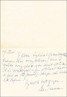 FIRST LADY BESS W. TRUMAN - AUTOGRAPH LETTER SIGNED CIRCA 1967