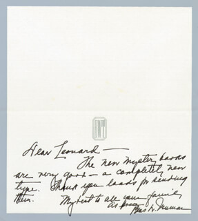 FIRST LADY BESS W. TRUMAN - AUTOGRAPH LETTER SIGNED CIRCA 1963