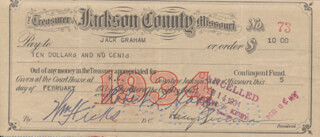 PRESIDENT HARRY S TRUMAN - AUTOGRAPHED SIGNED CHECK 02/05/1934 CO-SIGNED BY: WILLIAM HICKS, ROBERT L. HOOD