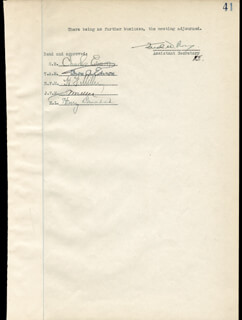 THOMAS A. EDISON - DOCUMENT SIGNED CIRCA 1925 CO-SIGNED BY: GOVERNOR CHARLES EDISON