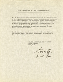 GRAND ADMIRAL KARL DONITZ - TYPESCRIPT SIGNED 12/07/1974