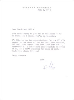 STEPHEN J. SONDHEIM - TYPED LETTER SIGNED 07/02/1973