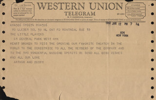 ROBERT FIZDALE - TELEGRAM UNSIGNED 01/12/1961 WITH ARTHUR GOLD