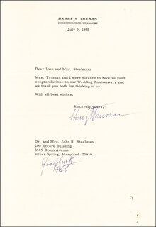 PRESIDENT HARRY S TRUMAN - TYPED LETTER TWICE SIGNED 07/03/1968