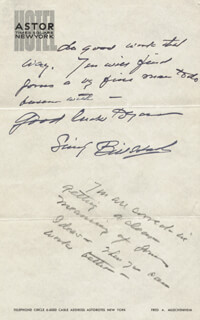 WILLIAM S. HART - AUTOGRAPH LETTER SIGNED CIRCA 1933