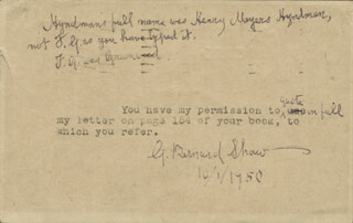 GEORGE BERNARD SHAW - TYPED NOTE SIGNED 10/01/1950