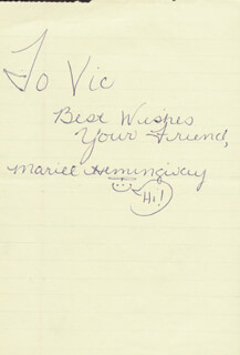 MARIEL HEMINGWAY - AUTOGRAPH NOTE SIGNED