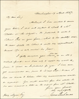 PRESIDENT JAMES BUCHANAN - AUTOGRAPH LETTER SIGNED 04/19/1847