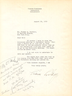 PRESIDENT CALVIN COOLIDGE - TYPED LETTER SIGNED 08/19/1930
