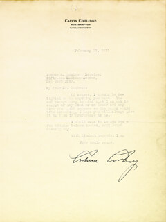 Autographs: PRESIDENT CALVIN COOLIDGE - TYPED LETTER SIGNED 02/27/1931