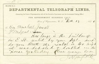 PRESIDENT JAMES A. GARFIELD - AUTOGRAPH TELEGRAM SIGNED 12/18/1871