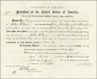 PRESIDENT ULYSSES S. GRANT - DOCUMENT SIGNED 09/14/1875 CO-SIGNED BY: BENJAMIN H. BRISTOW