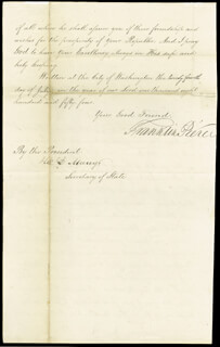 PRESIDENT FRANKLIN PIERCE - MANUSCRIPT LETTER SIGNED 07/24/1854 CO-SIGNED BY: WILLIAM L. MARCY