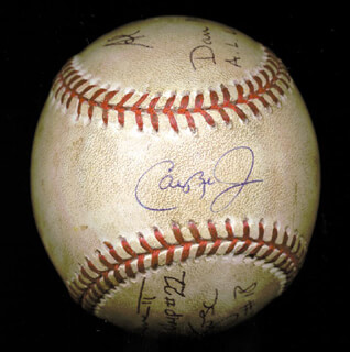CAL RIPKEN JR. - BASEBALL (GAME USED) SIGNED CIRCA 1995 CO-SIGNED BY: AL CLARK, GREG KOSC, LARRY BARNETT, DAN MORRISON
