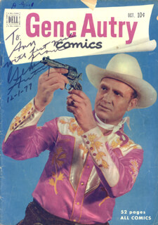 GENE AUTRY - INSCRIBED COMIC BOOK SIGNED 12/01/1977
