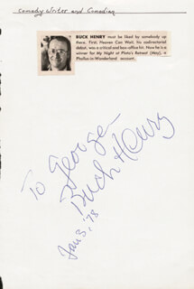 BUCK HENRY - INSCRIBED SIGNATURE 06/03/1978