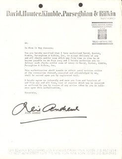 JULIE ANDREWS - DOCUMENT SIGNED