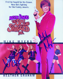 AUSTIN POWERS: THE SPY WHO SHAGGED ME MOVIE CAST - AUTOGRAPHED SIGNED PHOTOGRAPH CO-SIGNED BY: MIKE MYERS, HEATHER GRAHAM