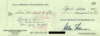 ALLAN SHERMAN - AUTOGRAPHED SIGNED CHECK 04/01/1966