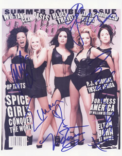 THE SPICE GIRLS - AUTOGRAPHED SIGNED PHOTOGRAPH CO-SIGNED BY: SPICE GIRLS (MELANIE JAYNE SPORTY SPICE CHISHOLM), SPICE GIRLS (MELANIE JANINE SCARY SPICE BROWN), SPICE GIRLS (VICTORIA POSH SPICE ADAMS BECKHAM), SPICE GIRLS (EMMA LEE BABY SPICE BUNTON), SPICE GIRLS (GERI GINGER SPICE HALLIWELL)