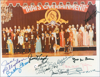 Autographs: METRO-GOLDWYN MAYER SUPERSTARS - PHOTOGRAPH SIGNED CO-SIGNED BY: CYD CHARISSE, DEBBIE REYNOLDS, GEORGE BURNS, JAMES JIMMY STEWART, ZSA ZSA GABOR, CHARLTON HESTON, MYRNA LOY, BUDDY EBSEN, JUNE ALLYSON, JANET LEIGH