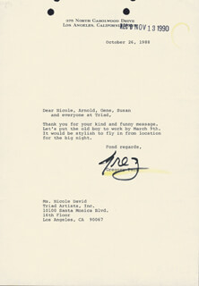 GREGORY PECK - TYPED LETTER SIGNED 10/26/1988