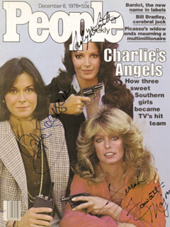CHARLIE'S ANGELS TV CAST - MAGAZINE COVER SIGNED CO-SIGNED BY: JACLYN SMITH, FARRAH FAWCETT, KATE JACKSON