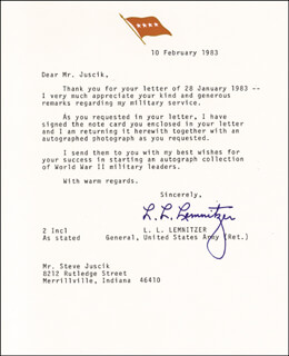 GENERAL LYMAN L. LEMNITZER - TYPED LETTER SIGNED 02/10/1983