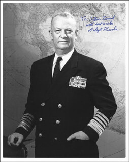 Autographs: ADMIRAL ARLEIGH A. BURKE - INSCRIBED PHOTOGRAPH SIGNED