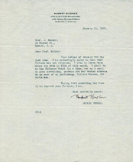 RUPERT HUGHES - TYPED LETTER SIGNED 01/11/1927