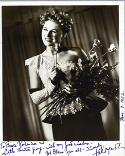 HILDEGARDE - AUTOGRAPHED INSCRIBED PHOTOGRAPH 03/07/1952