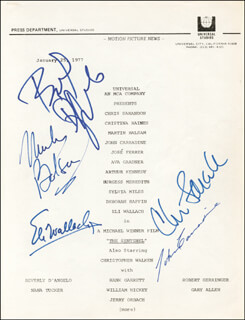 THE SENTINEL MOVIE CAST - SCRIPT SIGNED CO-SIGNED BY: JOHN CARRADINE, BEVERLY D'ANGELO, MARTIN BALSAM, ELI WALLACH, CHRIS SARANDON