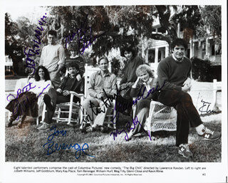 THE BIG CHILL MOVIE CAST - AUTOGRAPHED SIGNED PHOTOGRAPH CIRCA 1983 CO-SIGNED BY: GLENN CLOSE, JEFF GOLDBLUM, KEVIN KLINE, JOBETH WILLIAMS, MARY KAY PLACE, WILLIAM HURT, TOM BERENGER, MEG TILLY