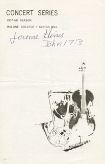 JEROME HINES - PROGRAM SIGNED 01/19/1968