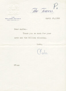 COLE PORTER - TYPED NOTE SIGNED 04/26/1960