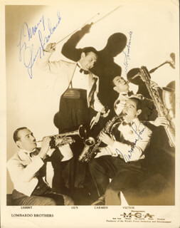 GUY LOMBARDO ORCHESTRA - AUTOGRAPHED INSCRIBED PHOTOGRAPH CO-SIGNED BY: GUY LOMBARDO ORCHESTRA (CARMEN LOMBARDO), GUY LOMBARDO ORCHESTRA (GUY A. LOMBARDO), GUY LOMBARDO ORCHESTRA (VICTOR LOMBARDO)