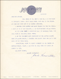 JACK NORWORTH - TYPED LETTER SIGNED 11/24/1955