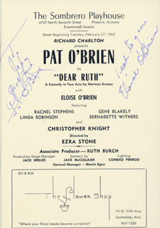 DEAR RUTH PLAY CAST - INSCRIBED PROGRAM SIGNED CIRCA 1962 CO-SIGNED BY: ELOISE O'BRIEN, PAT O'BRIEN
