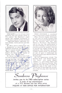 GENE BARRY - PROGRAM SIGNED CIRCA 1962