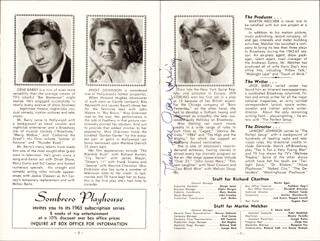 JAN STERLING - PROGRAM SIGNED CIRCA 1962
