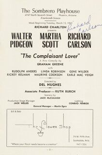 RICHARD CARLSON - PROGRAM SIGNED