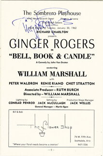 GINGER ROGERS - PROGRAM SIGNED CIRCA 1962
