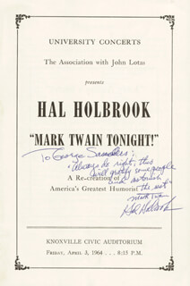 HAL HOLBROOK - INSCRIBED PROGRAM SIGNED CIRCA 1964