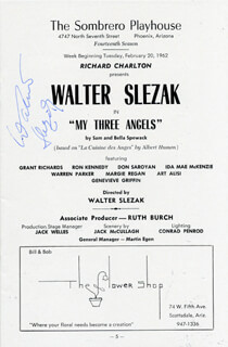 WALTER SLEZAK - PROGRAM SIGNED CIRCA 1962
