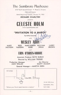 WESLEY ADDY - PROGRAM SIGNED CIRCA 1963