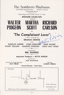 WALTER PIDGEON - PROGRAM SIGNED CIRCA 1962
